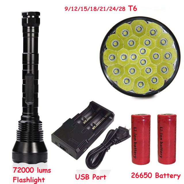 Newest Super Bright 72000 Lumen 5 Mode 28* T6 LED Flashlight Strong Torch Flash Light lamp torche For Outdoor Hunting 26650 super bright 72000lm 5 mode 28 xml t6 led flashlight torch flash light lamp for outdoor hunting with 4 26650 battery