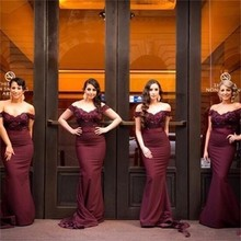 Burgundy Mermaid Vintage Bridesmaid Dresses Off the Shoulder 2017 Lace Maid of Honor Gowns Long Formal Wedding Party Dresses