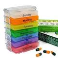 2016 Colorido Casos de Pílulas Medicina Armazenamento 7 Dias Tablet Sorter Box Container Organizer Saúde 5WB3 7H5O