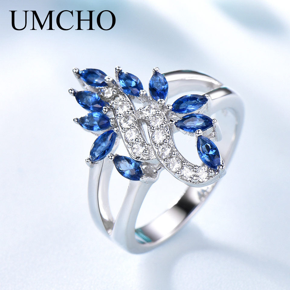 Image 3 - UMCHO Genuine 925 Sterling Silver Ring Gemstone Blue Sapphire Rings for Women Cocktail Flowers Trendy Romantic Gift Fine JewelryRings   -