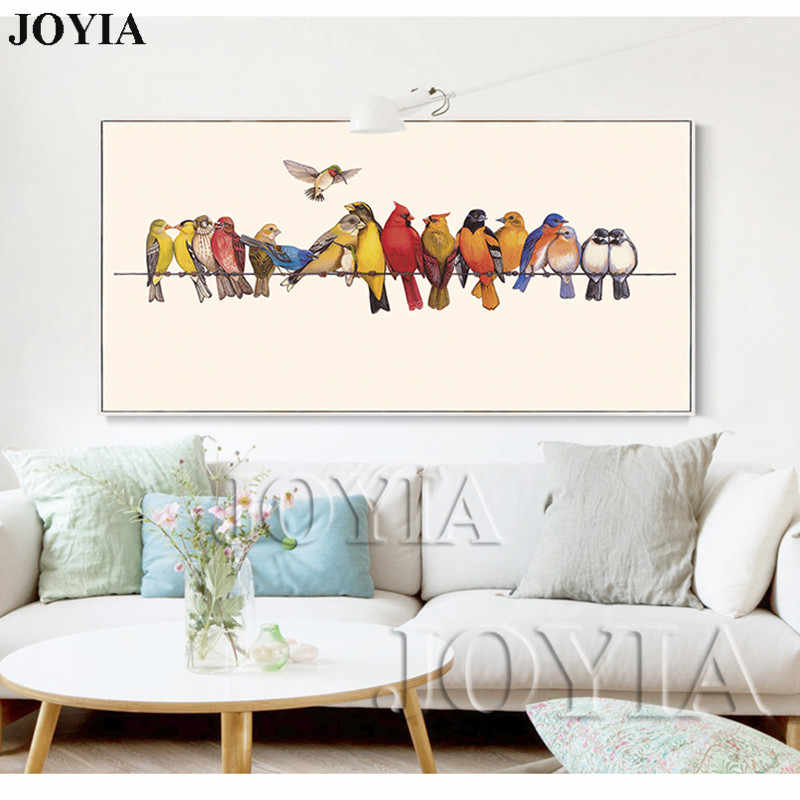 Large Art Canvas Decoration Bedroom Decor Colorful Birds Animal Painting Poster Bird Habitat Home Decor Wall Painting No Frame