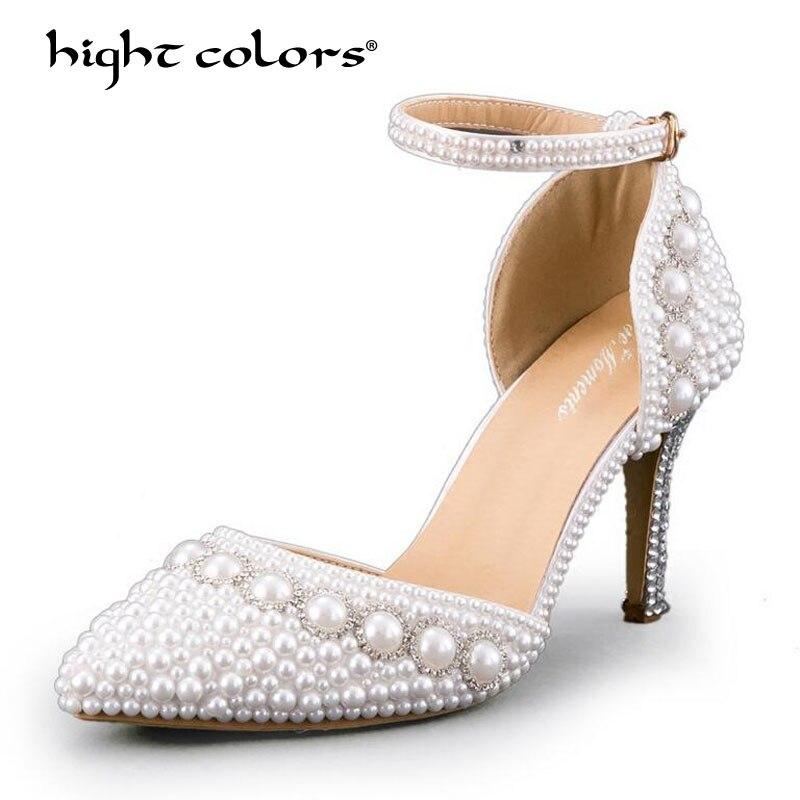Femme talon haut chaussures de mariage blanc ivoire bout pointu plate-forme perles bride à la cheville Satin dame bal de soirée pompes de mariée TAO-49