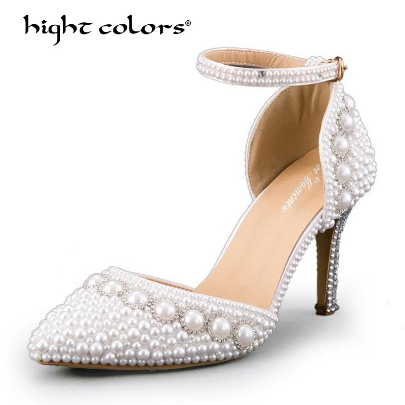 Woman High Heel Wedding Shoes White Ivory Pointed Toe Platform Pearls Ankle Strap Satin Lady Prom Evening Bridal Pumps TAO-49