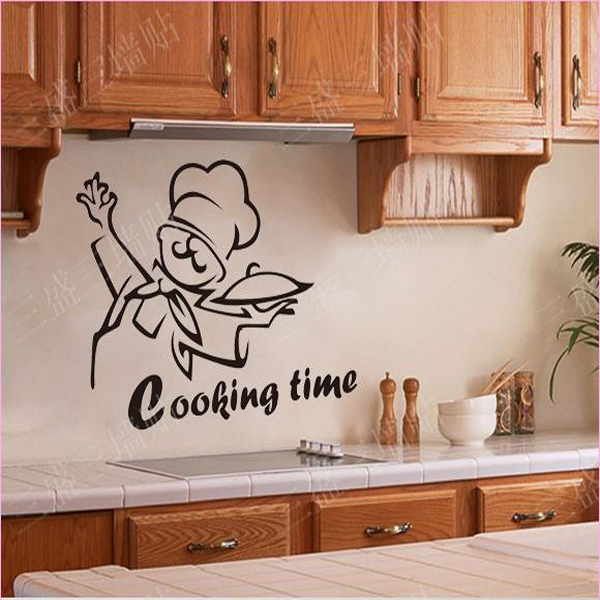 PVC Removable Kitchen Wall Stickers House Wall Decoration Art Decor Cooking  Time Black Wall Decals Vinyl
