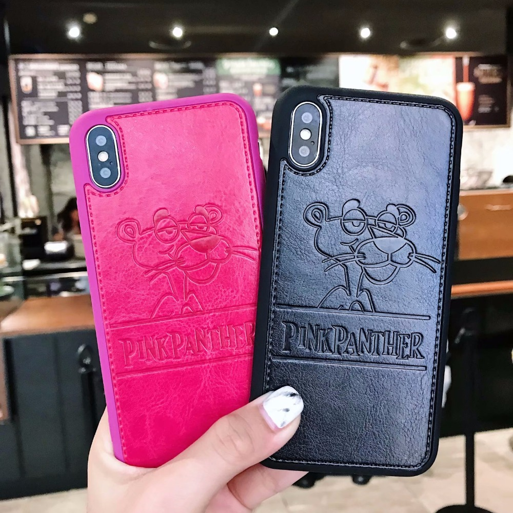 Exhard For iPhone XS MAX XR 7 8 Plus X Case Cartoon PU Leather Pink Panther For iPhone 6 6S Plus Case Back Cover Coque Fundas iPhone