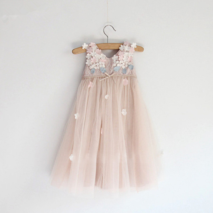 Summer Lace Vest Girl Dress Baby Girl Princess Dress 3-8 Age High Waist Children Clothes Kids Party Costume with flowers pearls 2017 new summer children girl long sleeve lace dress kids clothes cotton child party princess tank girl dress sundress age 2 10y