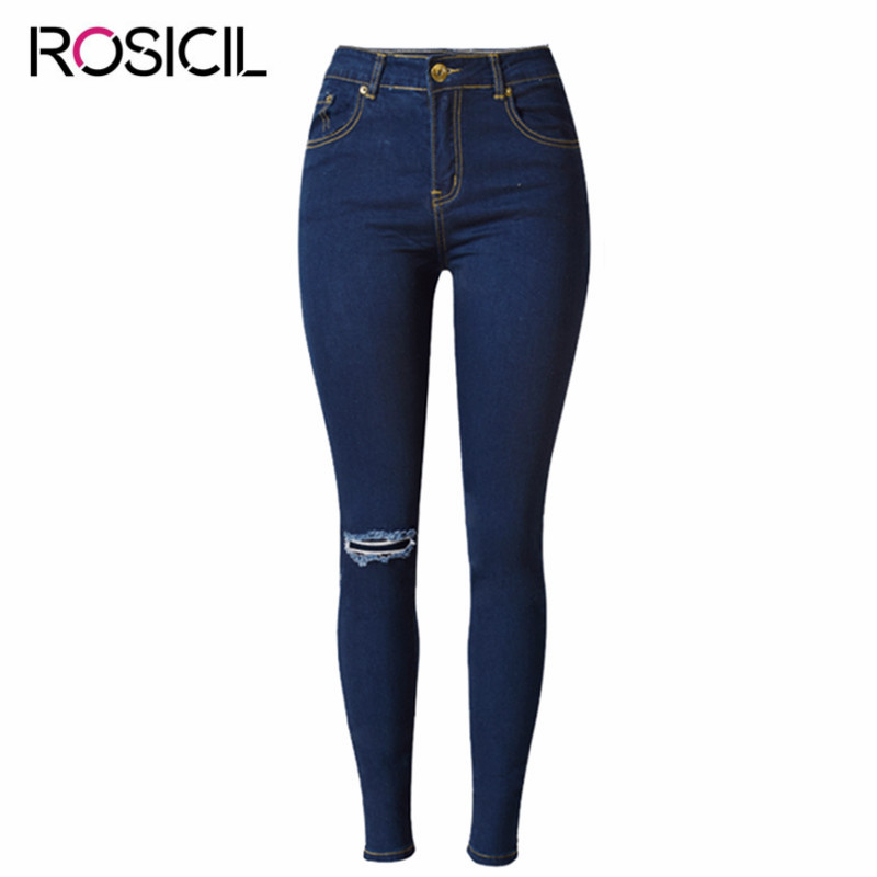 New Trend Broken Hole Personality Jeans Women High Waist Ripped Jeans For Wom en Stretch Denim Skinny Jeans Women Pencil Pants stylish gradient color broken hole skinny jeans for women
