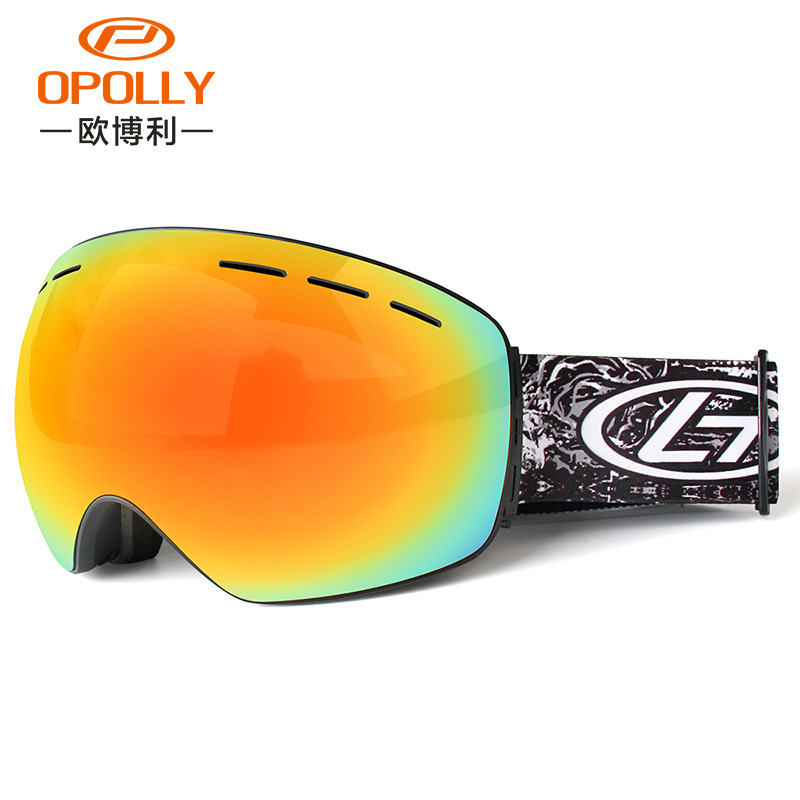 TPU material radiation protection eye protection clarity windbreak double decker fog adult large spherical ski goggles equipment