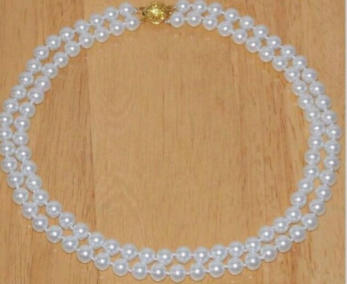 2 rows 8-9mm south sea white pearl necklace 18inch  14k/20 gold2 rows 8-9mm south sea white pearl necklace 18inch  14k/20 gold