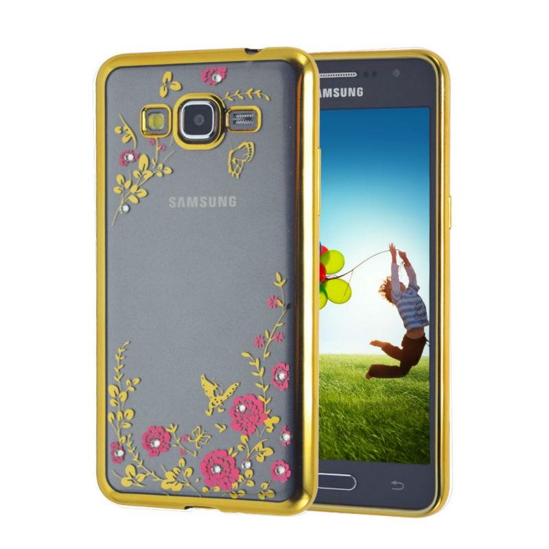 Lyxig blomma diamantplätering stötfodral fodral fodral för Samsung - Reservdelar och tillbehör för mobiltelefoner - Foto 1