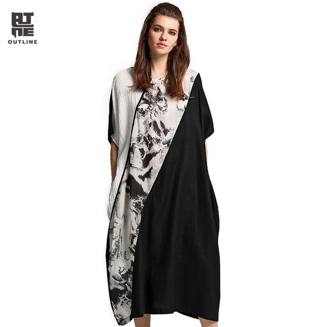 Aliexpress Buy Outline Women Black White Linen Dress Vintage