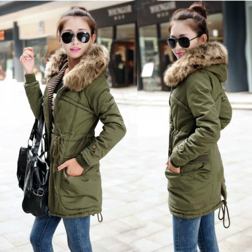 Army Green Winter Thick Military Coat Army Green Female Hooded Jacket Parkas Outerwear fur collar Women Coat cougar 530m army green