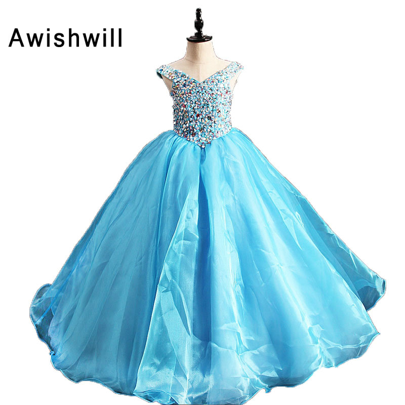 New Kids Pageant Evening Gowns 2019 Beadings Ball Gown   Flower     Girl     Dresses   For Weddings First Communion   Dresses   Blue Color