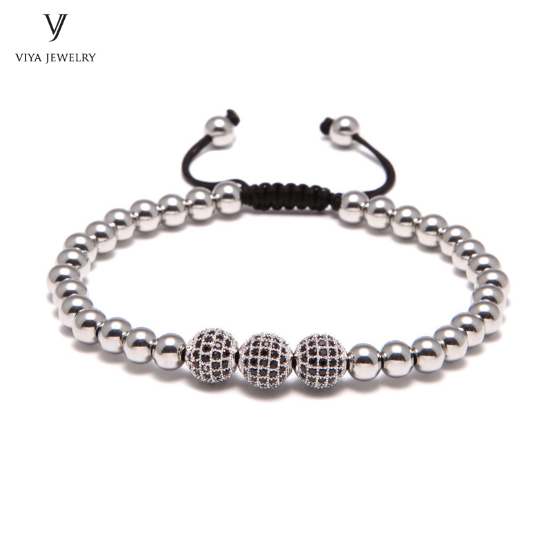 New High-end Luxury Bracelet ,8mm Pave Setting Black CZ Beads & 6mm Round Beads , Braiding Bead Bracelet For Men's Watch 2016 new waterproof black beads macrame bracelets for men women high end cz beads braided bracelet for watch boho men jewelry
