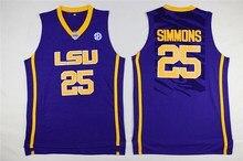 21dba838a78 25Ben Simmons LSU White   Blue  Yellow Retro Throwback Stitched Basketball  Jersey Sewn Camisa