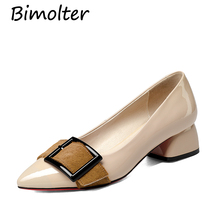Bimolter New Fashion Genuine Leather Women Pumps Horsehair Buckle Strap Pointed Toe Classic Cow Mary Janes Shoes LCEB008