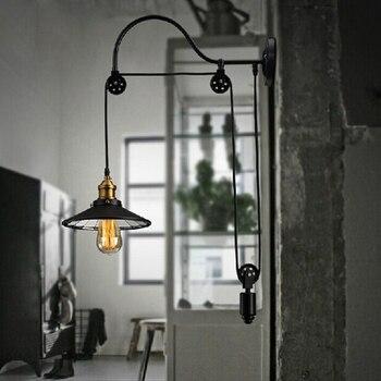 Retro regulowany pasowe długość żelaza szkła czytanie czarny ścienne w stylu vintage u nas państwo lampy e27 led oświetlenie kinkiety ścienne dla łazienka sypialnia biuro bar
