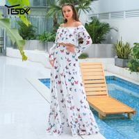 Yesexy 2019 Women Summer Beach Dress Off Shoulder Maxi Party Dress Elegant Print 2 pieces Set Female Backless Dress VR18834