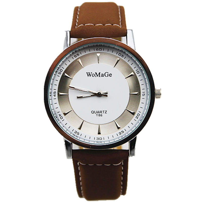 womage brand new design round simple dial vintage brown leather strap women men quartz watch unisex business dress wristwatches business padfolio portfolio with letter size writing notepads deluxe executive vintage brown leather padfolio new