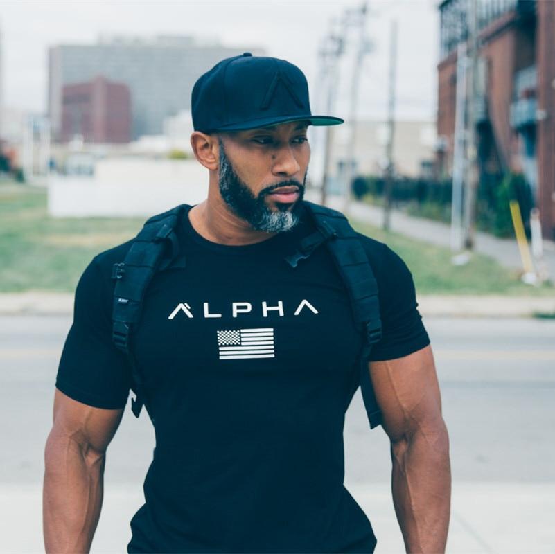 Tapa negra camiseta estadio Stringer hombre alfa ingenieros de culturismo y Fitness del crimen Camiseta de manga corta de corte Slim-tipo