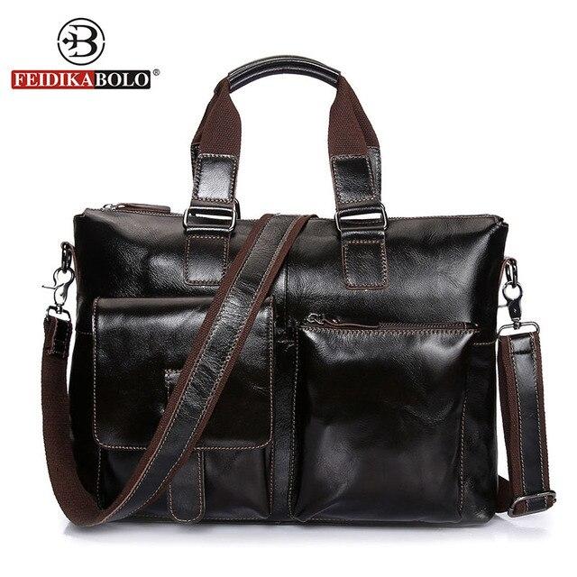 c742f1f79ba1a Feidika ماركة بولو حقيبة الرجال حقيبة جلد طبيعي حقيبة مجنون الحصان جلد  البقر مصمم حقائب عالية