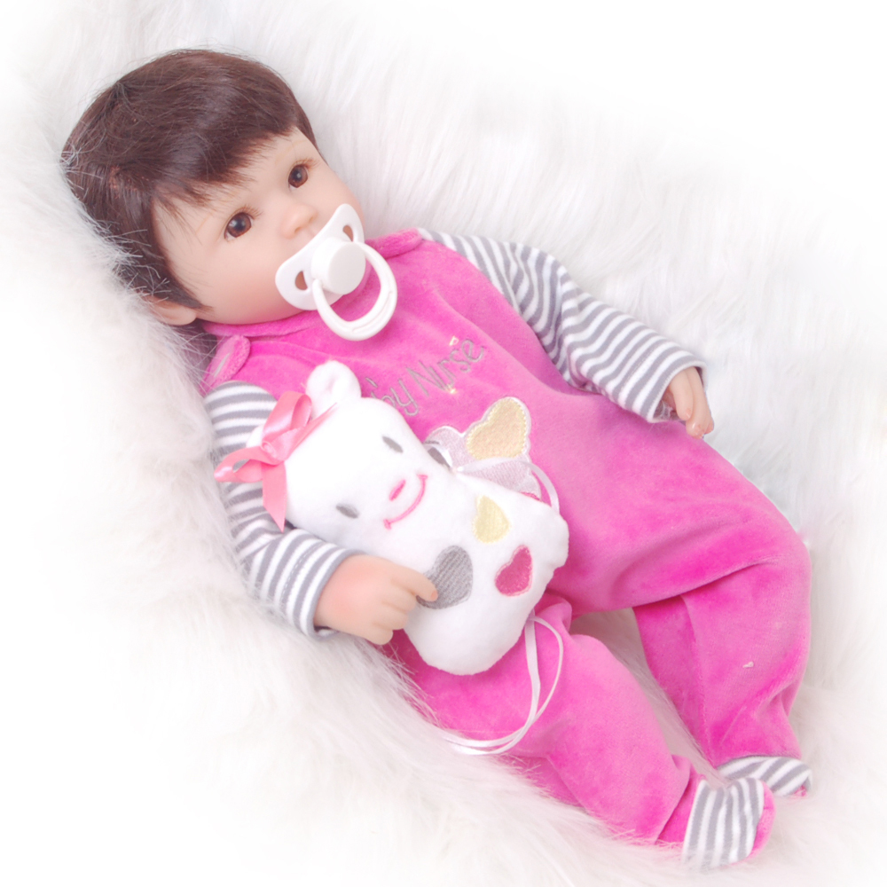 Wholesale Lifelike Reborn Dolls Babies 17'' Silicone Soft Cloth Body Newborn Doll So Lovely Girl Baby Toys Children Best Gifts free shipping hot sale real silicon baby dolls 55cm 22inch npk brand lifelike lovely reborn dolls babies toys for children gift