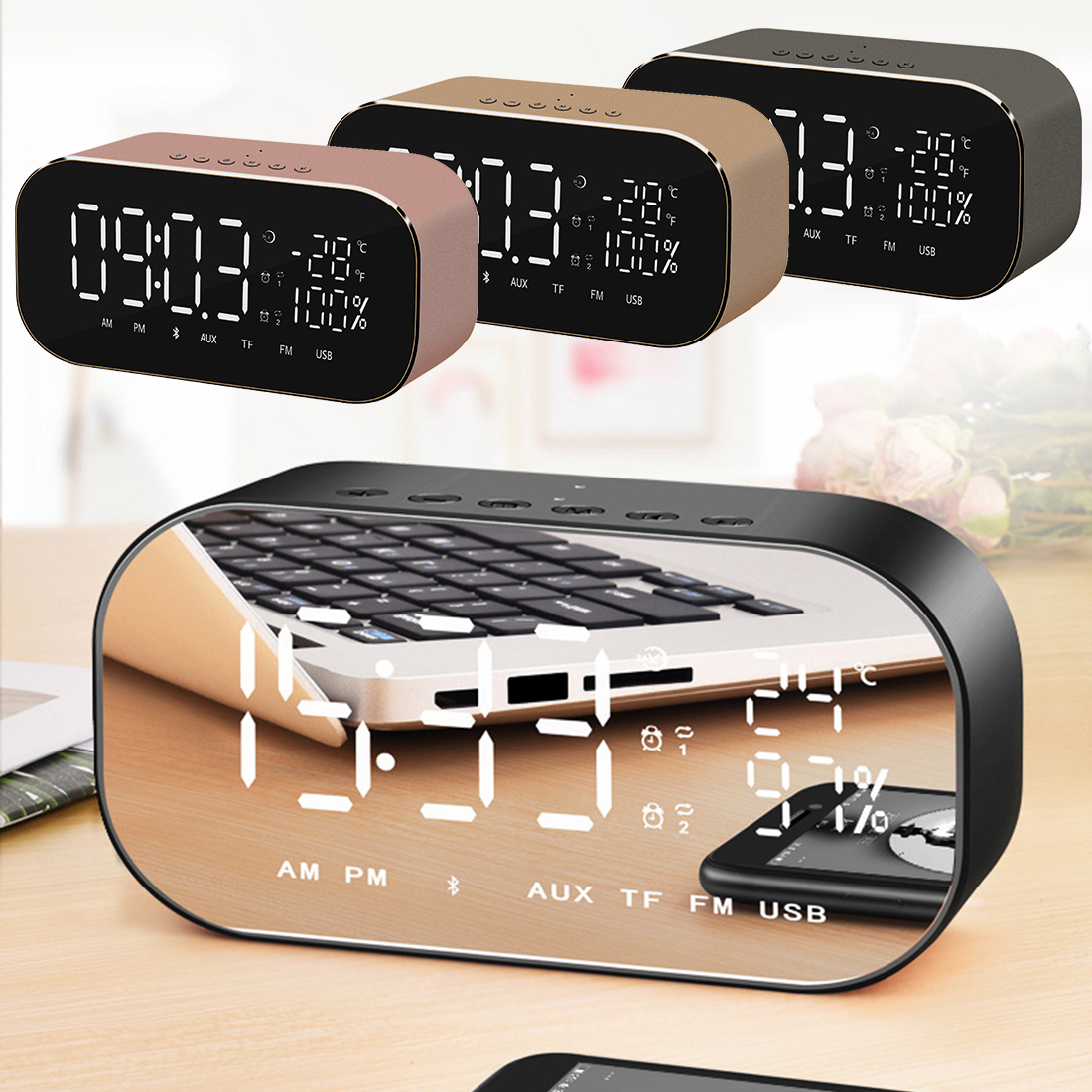Modern LED Alarm Clock with FM Radio wireless Bluetooth Speaker Support Aux TF USB Music Player for Office Bedroom Despertador(China)