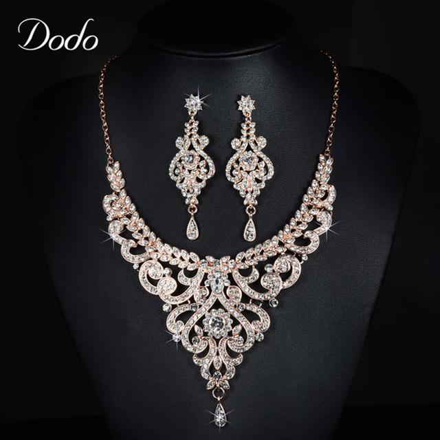 Rose Banhado A Ouro AAA CZ Diamante Bijoux Brincos Colar Conjuntos de Jóias Para As Mulheres Femme Acessório Do Vestido de Casamento de Luxo 585 D20