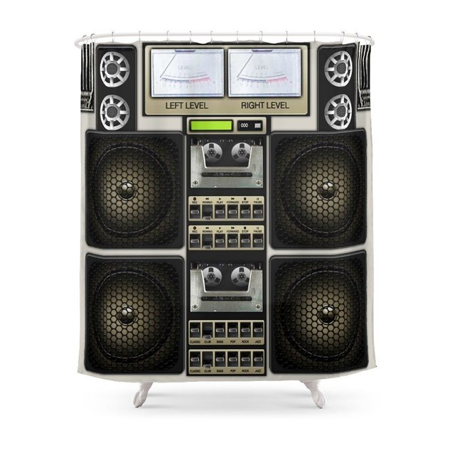 Retro Music Boombox Shower CurtainSet Bath Curtain For Bathroom With  Non Slip Floor Mat