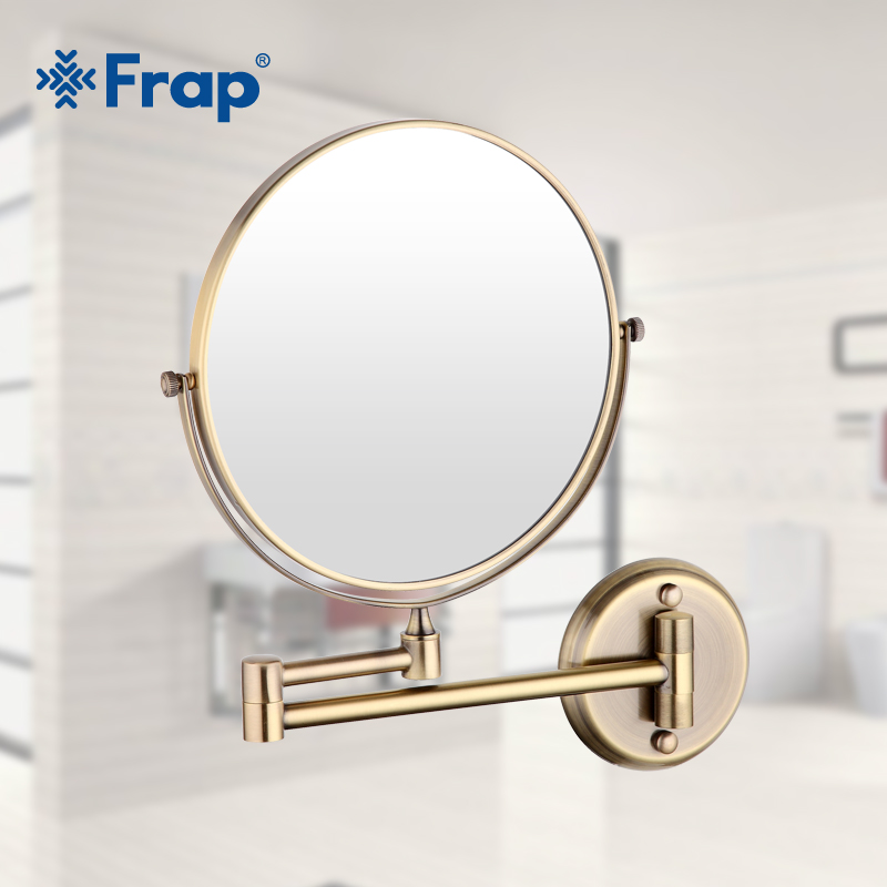 Frap wall mounted Vintage antique stainless steel brass Professional Vanity Mirror bathroom round Makeup mirror Espelho Y6108-4 high quality 9 brass 1x3x magnifying bathroom wall mounted round 25 led cosmetic makeup mirror with lighting mirror 2068