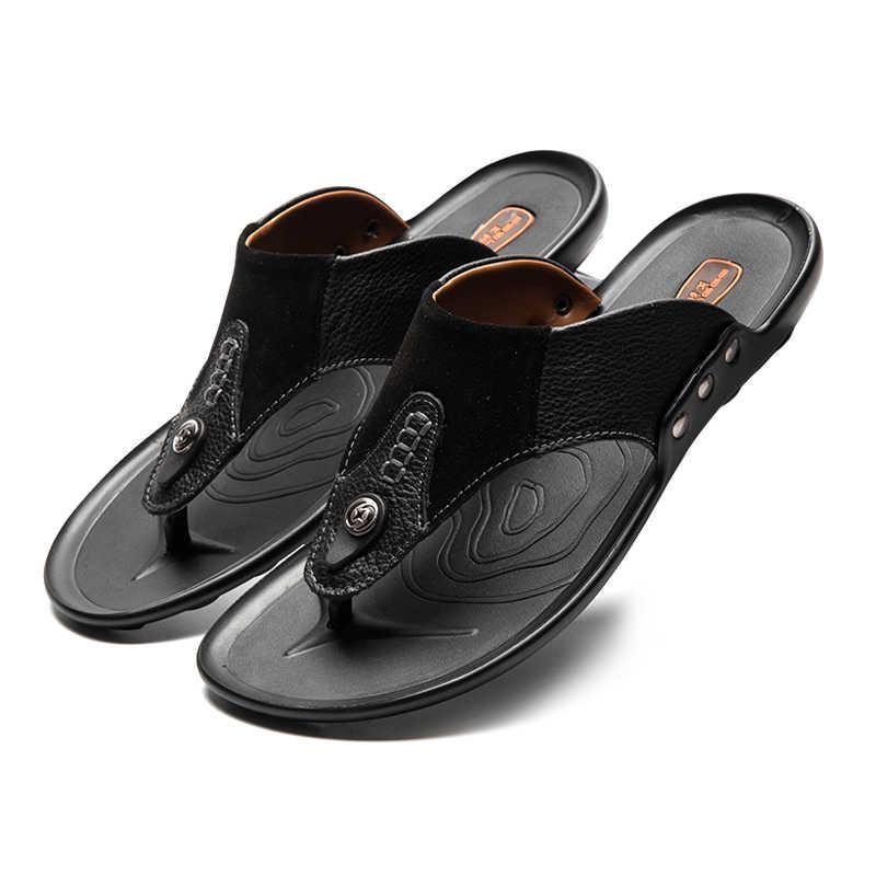 LINGGE แบรนด์ใหม่ผู้ชาย Flap Flops ของแท้หนังผู้ชายรองเท้าแตะฤดูร้อนรองเท้าแตะชายหาด Men Rivet ขนาด 38-44