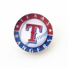 10pcs MLB Texas Rangers Snap buttons Glass 18m Baseball Sports snaps button Diy Snaps Jewelry Bracelet&bangles charms