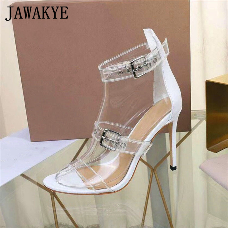 JAWAKYE clear pvc sandals women Peep toe Ankle Buckle summer shoes Runway design Cover Heel High Heels sexy gladiator sandalsJAWAKYE clear pvc sandals women Peep toe Ankle Buckle summer shoes Runway design Cover Heel High Heels sexy gladiator sandals