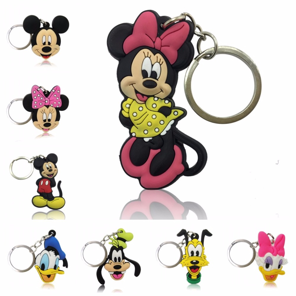 Hot Sell 100PCS Cartoon Figure Mickey Key Chain PVC Cute Anime Ring Kids Toy Pendant Keychain Minnie Holder Xmas Gift