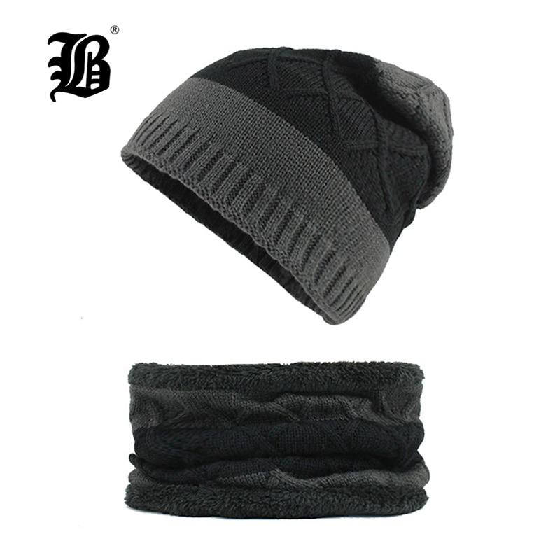 [FLB] Winter Knitted Hat   Beanies   Men Women Scarf Caps Mask Gorras Bonnet Warm Baggy Winter Hats For Men   Skullies     Beanies   F18037