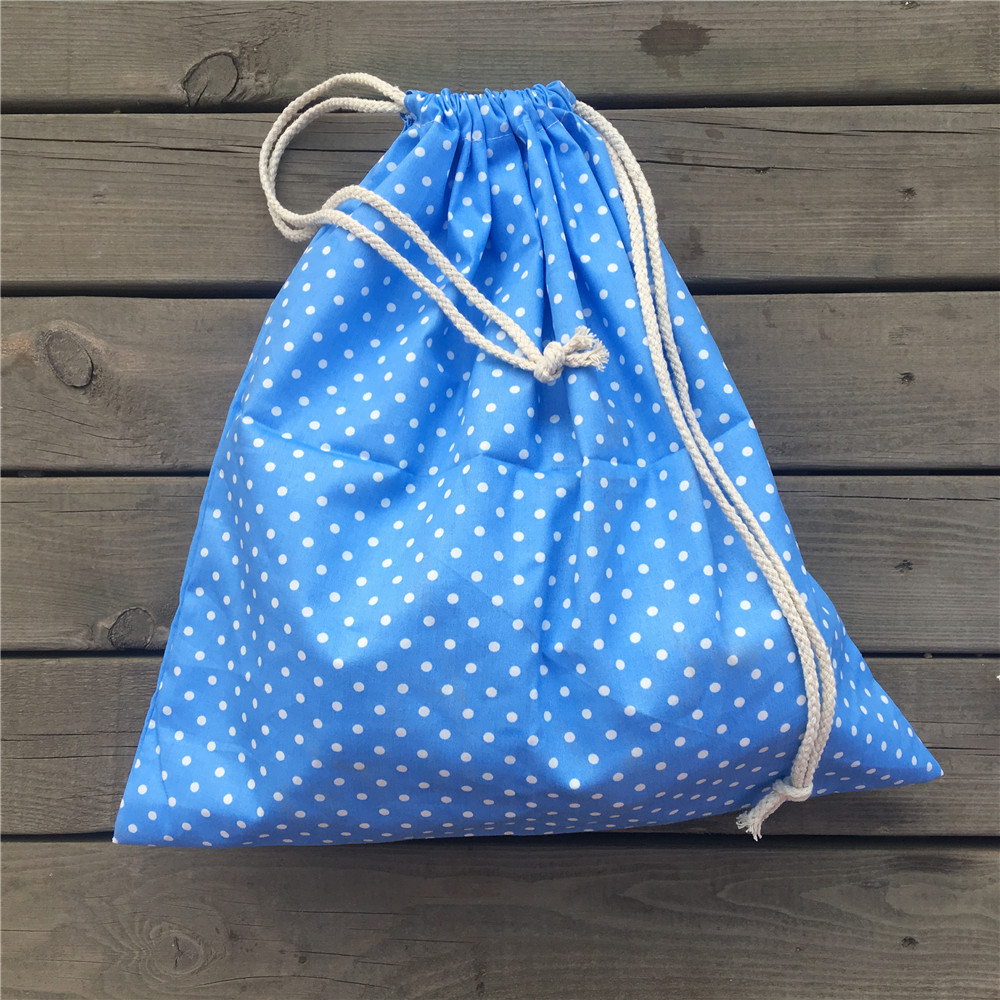 1pc Cotton Twill Drawstring Travel Organized Sorted Bag Party Gift Bag Blue Base Dots YL9505