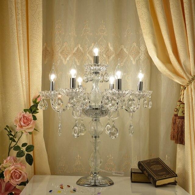 Modern minimalist fashion wedding crystal table lamp bedroom bedside lamp candle light living room hotel creative table lights
