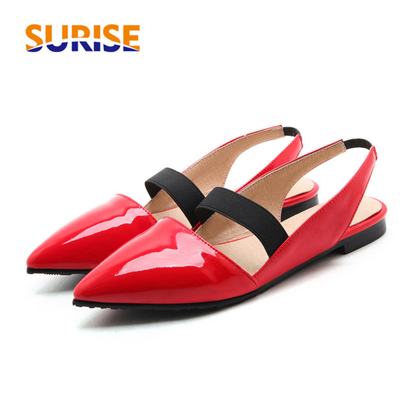 a9c231dac7c Big Size Summer Women Sandals Low Block Heels Pointed Toe Patent Leather  Elastic Band Casual Dress Office Black Ladies Slingback