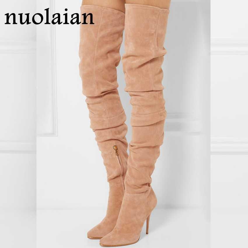 10.5 CM Yüksek Topuklu Diz Çizmeler Üzerinde Kadın Streç Uzun Çorap Çizme Kadın Motosiklet Botları Bayan Süet Deri Ayakkabı kış Ayakkabı