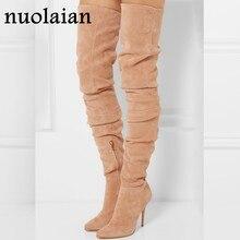 0558b803cee 10,5 cm tacones altos sobre la rodilla botas mujer Stretch calcetín largo botas  mujer motocicleta botas mujer gamuza cuero zapat.