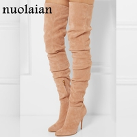 10.5CM High Heels Over The Knee Boots Woman Stretch Long Sock Boot Women Motorcycle Boots Womens Suede Leather Shoe Winter Shoes