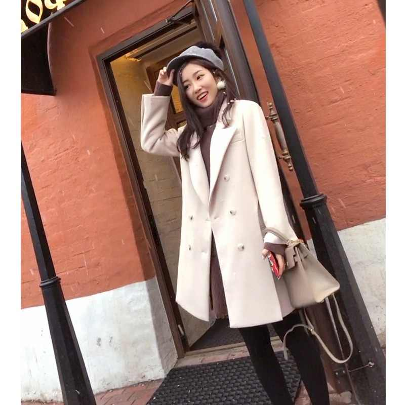 Mishow fashion double-breasted wool blends long white solid women coats 2019 spring notch lapel collar outwear   MX17D9628