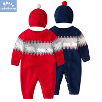 Christmas Thick Warm Infant Baby Rompers 2018 Winter Clothes Newborn Boy Girl Knitted Sweater Jumpsuit hat Kid Toddler Outerwear