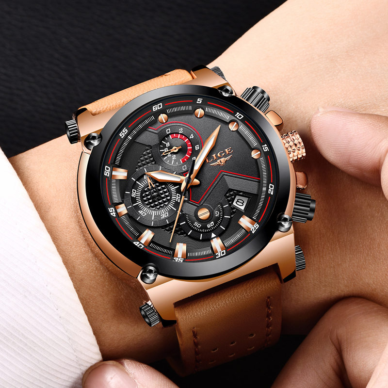 LIGE Mens Watches Top Brand Luxury Quartz Watch Men Fashion Waterproof Leather Army Military Sports Watch Man Relogio Masculino цена