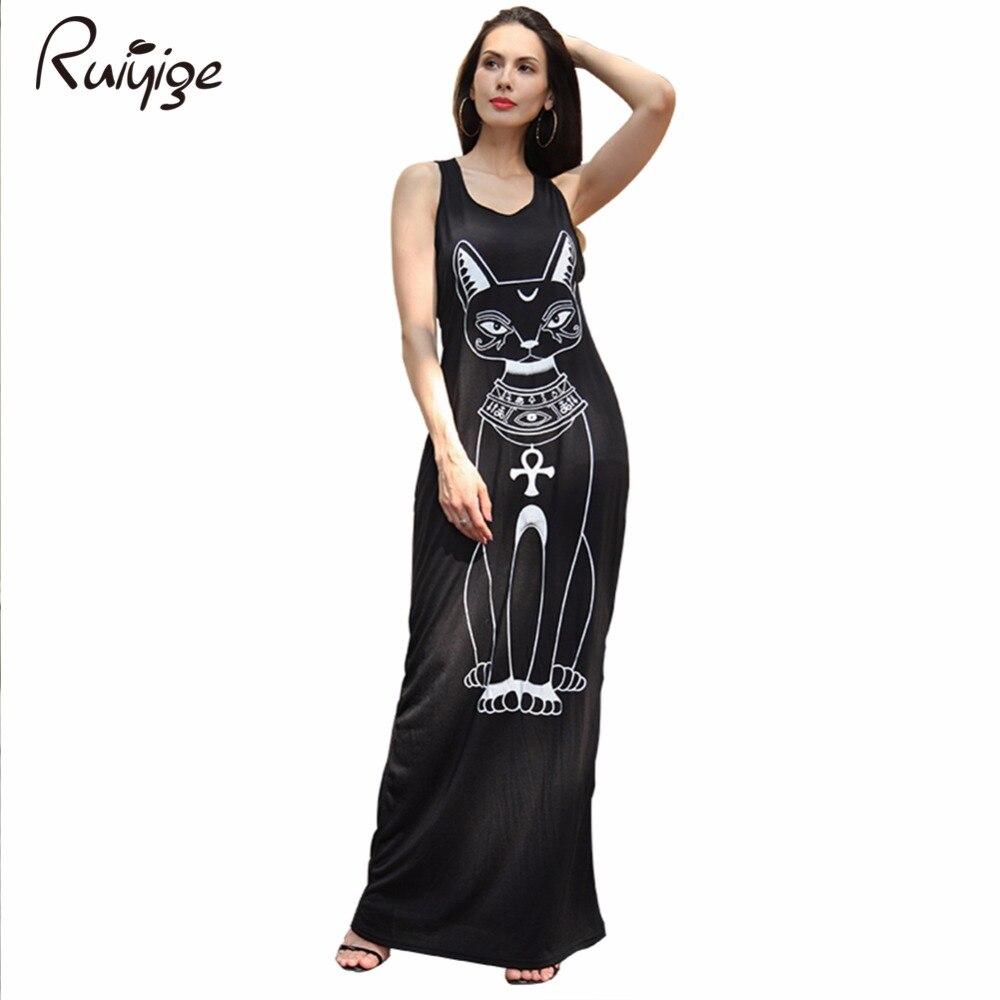 Ruiyige Long Summer Dresses 2017 Fashion Women Clothing Casual Black Sleeveless Round Neck Cat