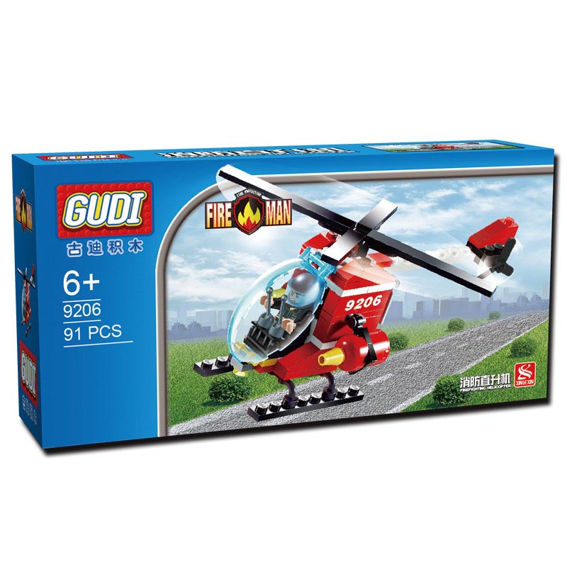 GUDI 91pcs Fire Helicopter Children Educational Assembled DIY Model Kids Toys Gift Building Blocks Brick Compatible With Legoe lepin17001 city street tai mahal model building blocks kids brick toys children christmas gift compatible 10189 educational toys