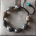 Tibetan Dzi Bead Natural Agate Shambala Bracelet Handmade Charm Kallaite Bangle Fashion Jewelry
