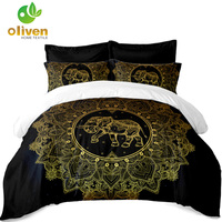 Tribal Elephant Bedding Set Golden Mandala print Black Duvet Cover Polyester King Queen Bed Cover Pillowcase Indian Style A30
