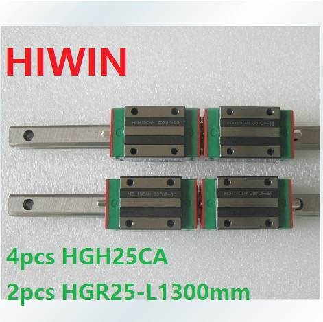 2pcs 100% original Hiwin linear guide linear rail HGR25 -L 1300mm + 4pcs HGH25CA linear narrow block for cnc router hiwin taiwan made 2pcs hgr25 l 600 mm linear guide rail with 4pcs hgh25ca or hgw25ca narrow sliding block cnc part