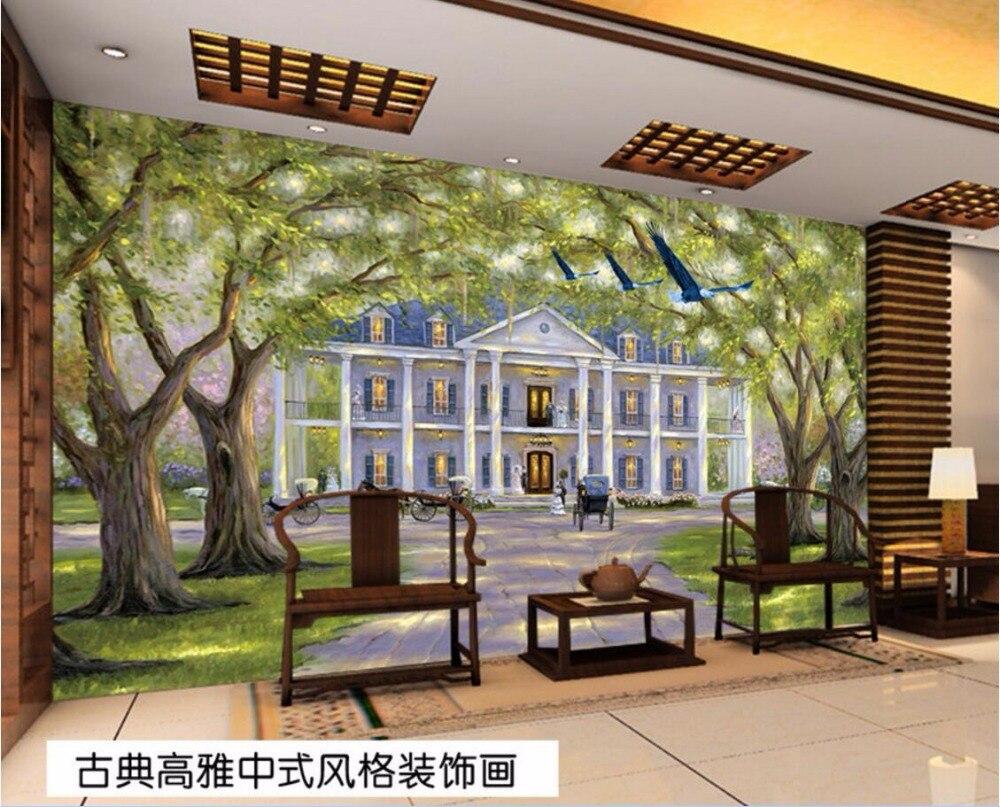 Personnalisé mural photo 3d papier peint européenne villa paysage chambre peinture décor image 3d peintures murales